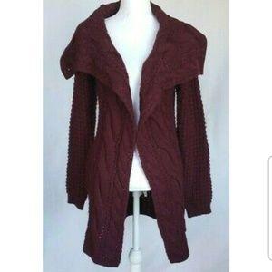 Anthropologie Purple Knit Cardigan Sweater Medium